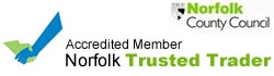 Norfolk Trusted Trader logo with link to web site - assuring your guarantee