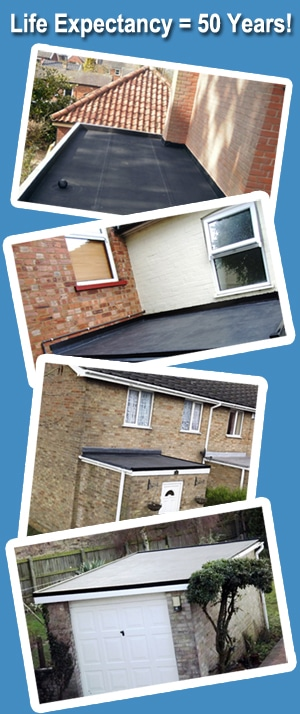 Flat roof rubber installations